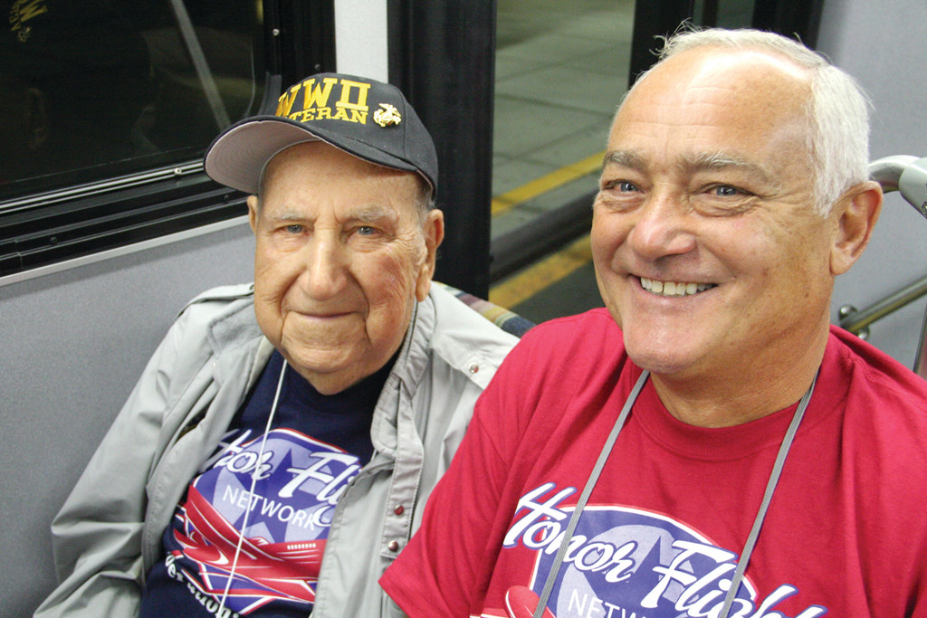 THE PAIR: WWII vet William Grimshaw and his guardian, Stephen Hay.