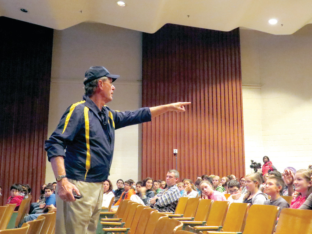 LIVING EXPLORER: Dr. Robert Ballard, known most for his discovery of the Titanic, gave a presentation to Warwick seventh graders yesterday.