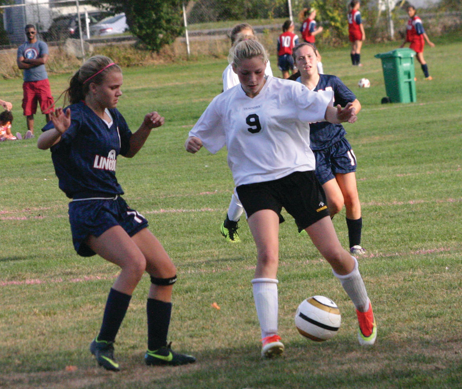 CONTROL: Kendra Levesque plays the ball in Thursday