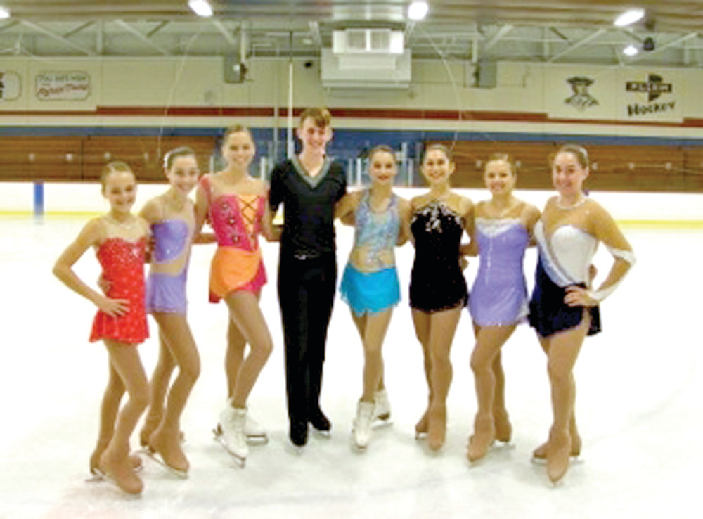 NICE ON THE ICE: Figure skaters set to compete in the 2014 New England Regional Figure Skating Championships are (from left): Caroline Ferguson, Abigale Reynolds, Kayla McCarthy, Daniel Kuyoth, Alizee Ballarin, Anoush Calikyan, Taylor Spinard and Hailey Weijland. Not pictured is Emma Rademacher, who qualified for the competition but is unable to participate due to an injury.