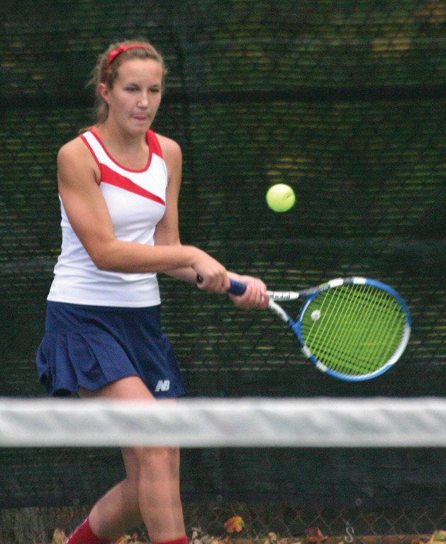 FINISHING TOUCH: Caroline Waggoner hits a backhand in Thursday