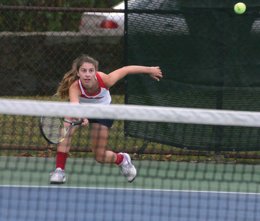 ALL OUT: Arianna Rizzo lunges for a forehand during Toll Gate's 4-3 win over Narragansett