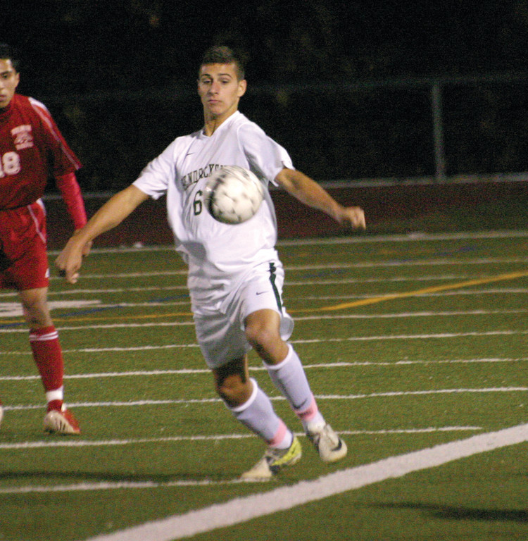 IN CONTROL: Brennan Bica tries to trap the ball with his body.