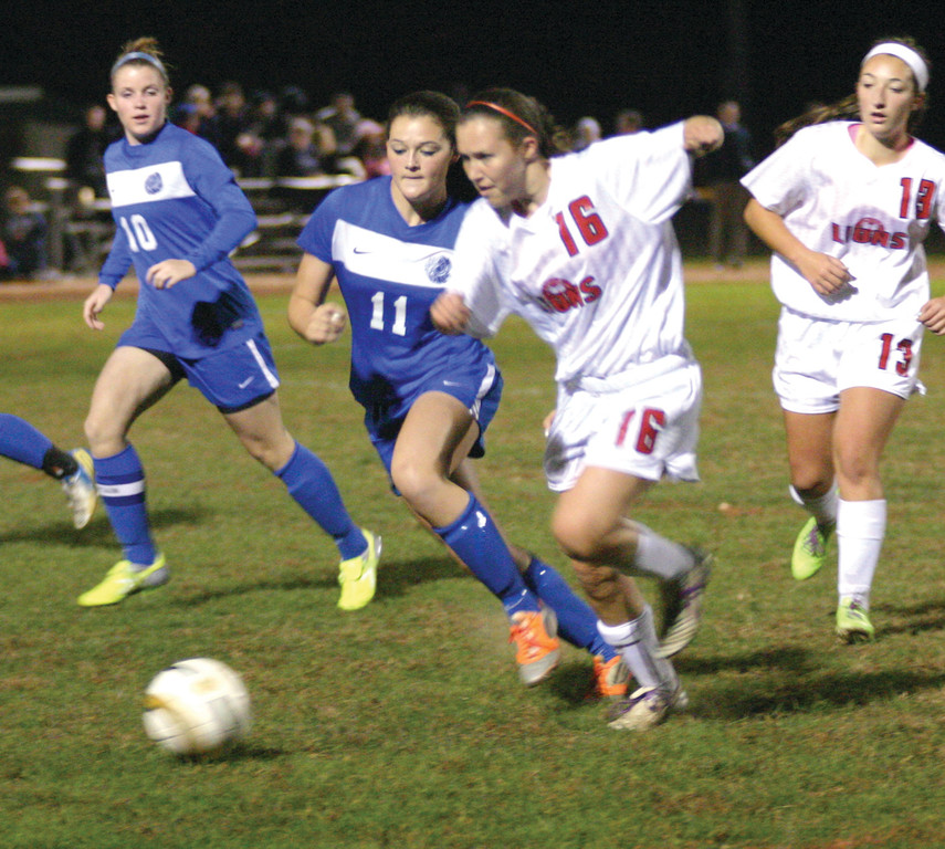 CHASING: Vets' Sloan Kinney tries to stay with Lincoln's Elizabeth Young in Tuesday's game.
