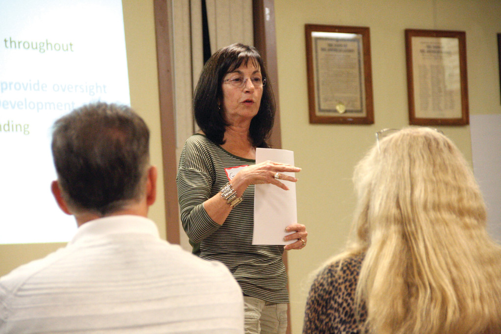 RUNNING WORKSHOP: Conimicut Village Association president Ginny Barham outlines the process of drafting a village master plan at Tuesday