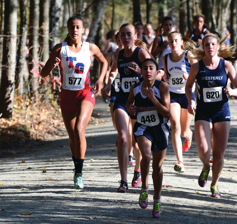 RUNNING WILD: Erika Pena runs through the woods on her way to the Class B title on Saturday.