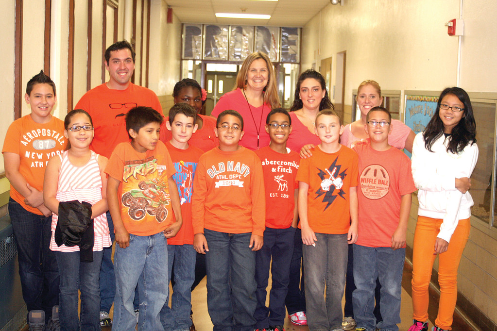 STADIUM SCHOOL GOES ORANGE FOR NO KID HUNGRY: Principal Cheri Sacco was thrilled to see her staff and students raising awareness of childhood hunger for Go Orange Day on Sept. 27.