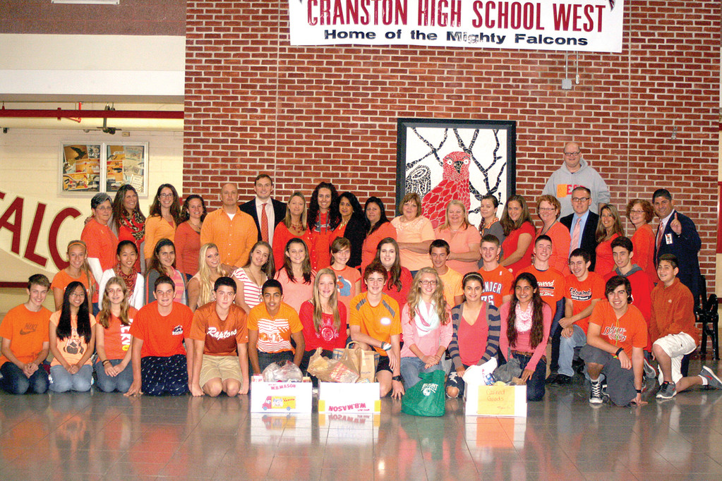 WEST SUPPORTS GO ORANGE DAY: The staff and students at Cranston High School West added Go Orange Day to their busy schedule of charitable giving events throughout the year.