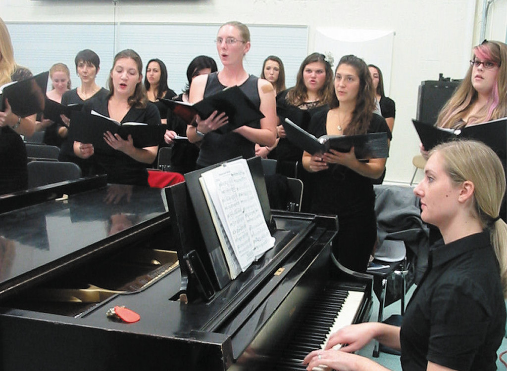 URI'S largest vocal ensembel, the University Chorus, rehearsing for a concert.