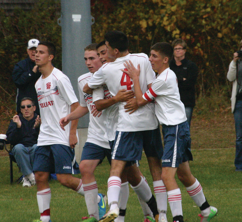 JUST ENOUGH: Toll Gate celebrates Nathan DaCosta's goal.