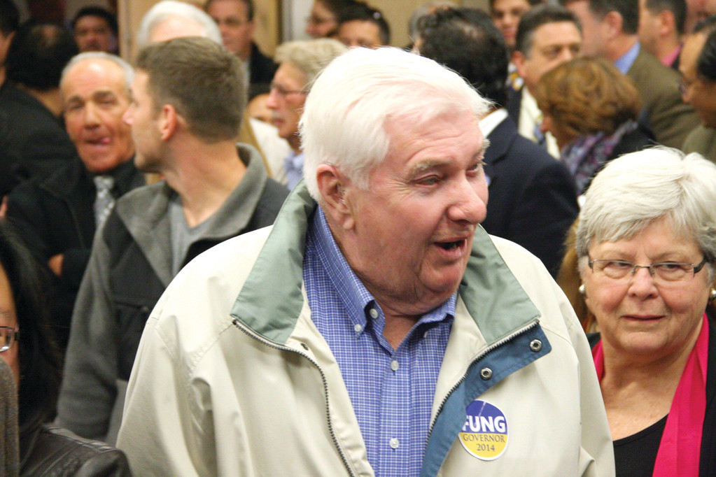 LENDING HIS SUPPORT: Former Governor Lincoln Almond who served on Fung's governor exploratory committee and his wife were in attendance at Monday's announcement.
