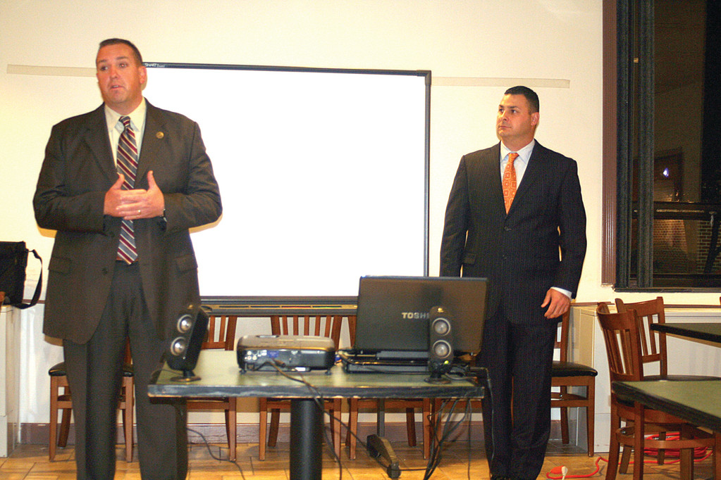 PARTNERING FOR SAFETY: Captain Steven Antonucci and Officer James Jennings spoke at length to those gathered at the CEAB meeting on Monday night about the new ALICE school safety measures being rolled out in Cranston.