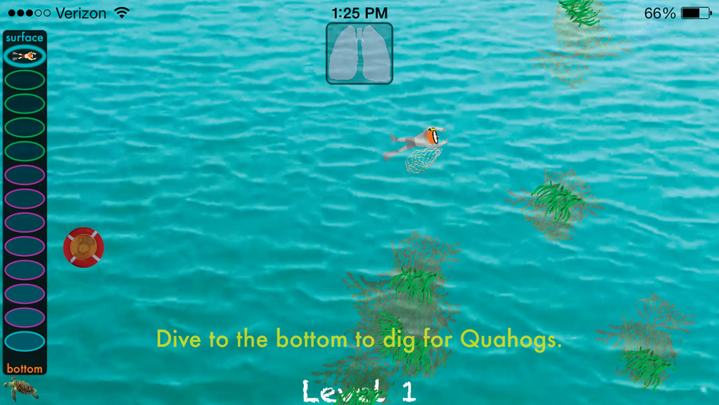 READY TO PLAY? A screen image of the quahog diving app along with the diver ready to dive to the bottom.