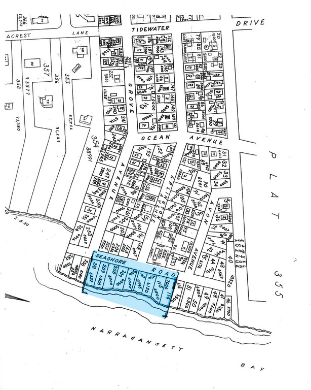 NO LONGER THERE: The shaded area represents Grant Station, an area that was lost to the Great Hurricane of 1938.