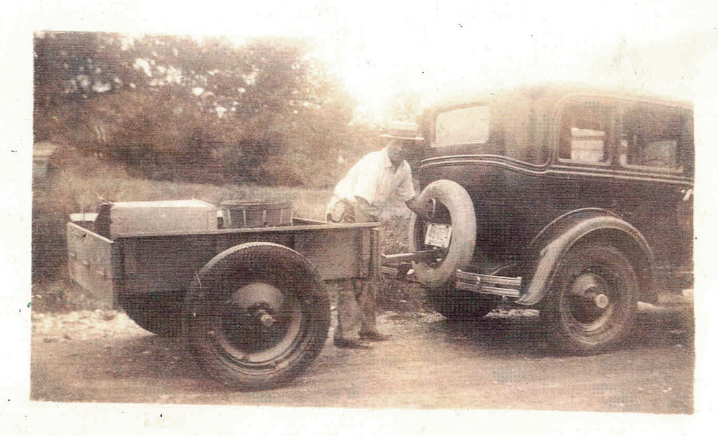HITCHED: Leonardo Martino with the family car and trailer he made.