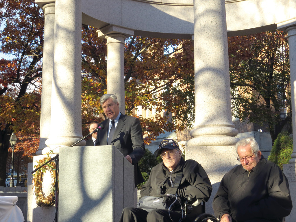 HONORING TWO WWII HEROES: On Friday afternoon, Senator Sheldon Whitehouse celebrated Veterans Day by presenting Albert C. Blais (wearing a hat) and Angelo A. Padula Sr., with their long-overdue military medals stemming from their service in the U.S. Navy and U.S. Army Medical Corps, respectively, in World War II.