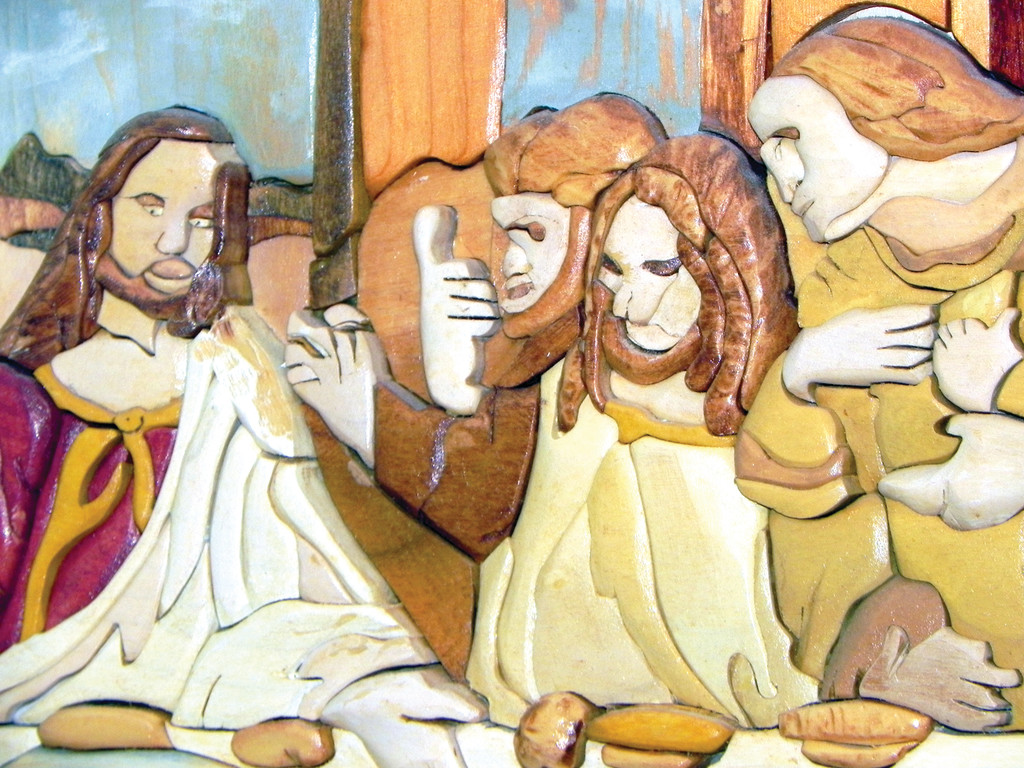 BETRAYAL: The Last Supper is a favorite subject for Tony Patriarca. This is a detail from one of them that shows Jesus and Judas just before the kiss of betrayal.