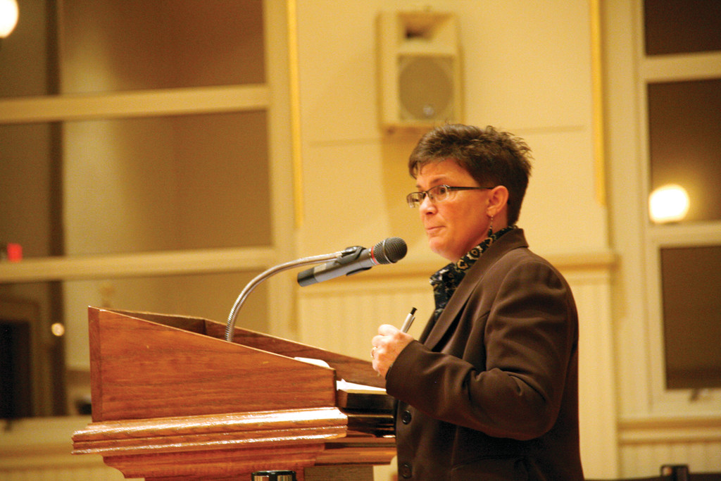 OUTLINING PROPOSAL: Janine Burke, executive director of the Warwick Sewer Authority, explained the reasons why the authority needs to upgrade its treatment plant at last Wednesday�s City Council meeting.