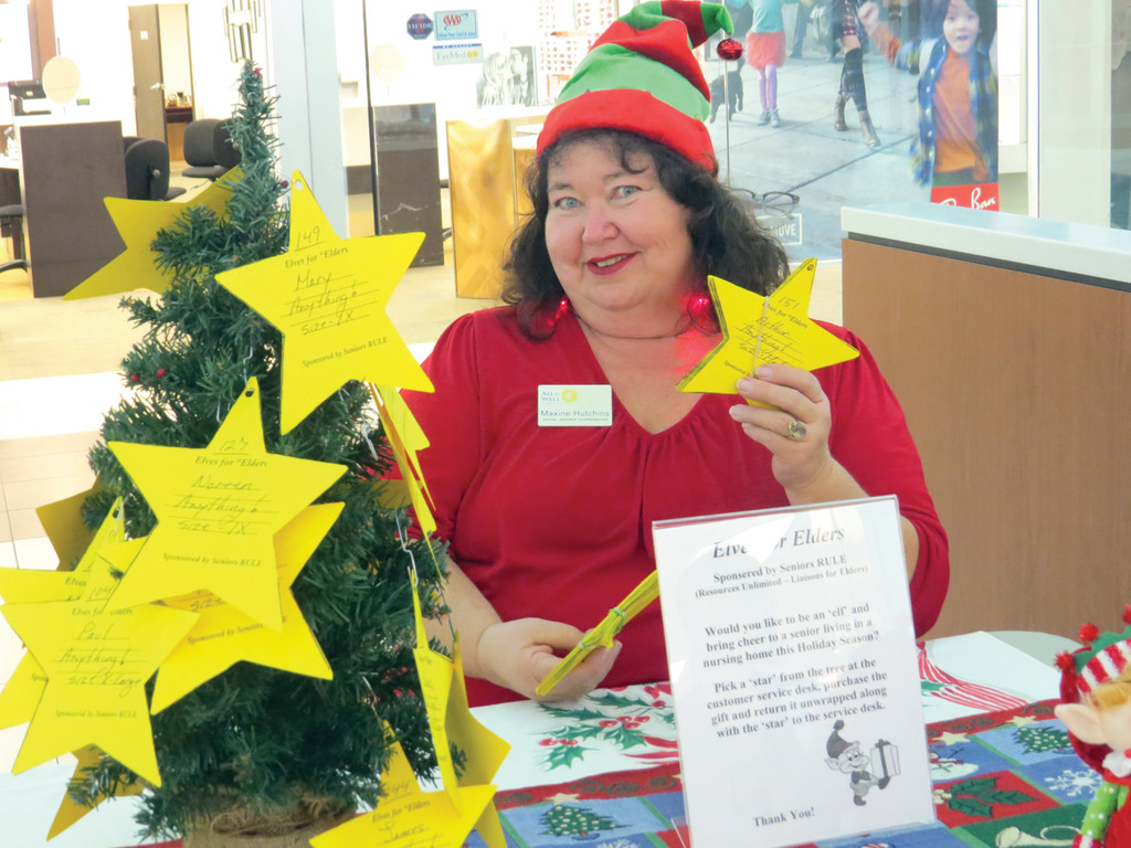 "SANTA'S HELPER: Maxine Hutchins, founder of ""Elves for Elders,"" dressed the part and stopped by the Warwick Mall on Friday afternoon to speak with shoppers about the program and to encourage folks to donate."