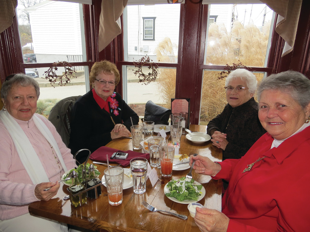 THREE VETS AND A ROOKIE: Lifelong High Low Jack players Claire Potter, Mary Creamer and Doris Ciliberto have been part of the Pilgrim league for almost 20 years, teaching new member Carol Quinn the ropes of the game. Quinn joined the group only two months ago and says she has enjoyed the camaraderie within the group.