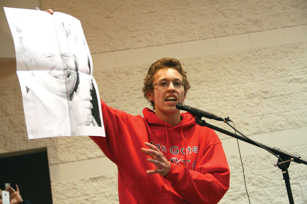 ADDING FLARE: Toll Gate student Szabolcs Kiss concluded his remarks by displaying a photo of Nikita Gorbachev, which he said symbolizes what went wrong in the Soviet Union.