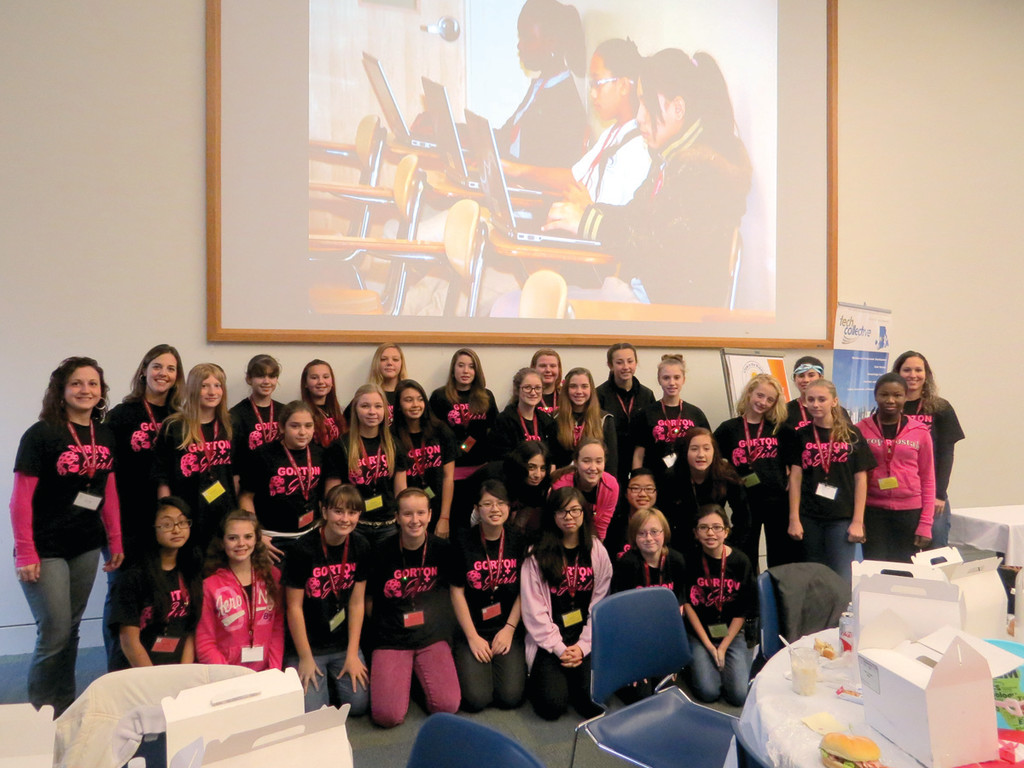 GORTON GIRLS AND SCIENCE: Thirty female students from Gorton Junior High School had the opportunity to explore science, technology, engineering and math (STEM) during Tech Collective's third annual STEM in the Middle expo, a workshop and career expo designed to encourage young girls to explore careers in the science and tech fields. The event was hosted at Rhode Island College by the Rhode Island STEM Center.