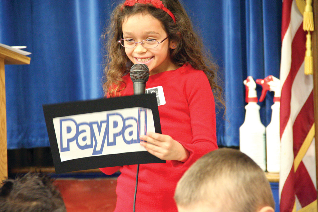 WORDS FROM THE WIZARDS: Kaley Simas was one of more than a dozen first graders who read quotes from the founders and engineers of computer technology companies.