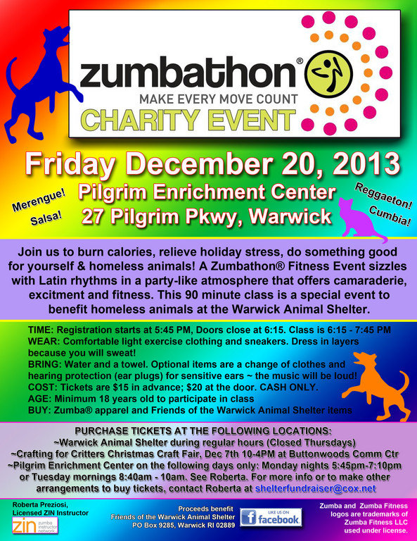 Zumbathon on Dec 20th to benefit homeless animals
