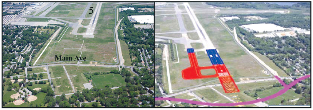 WHAT'S PLANNED: The final phase in the current list of projects at Green Airport will be the extension of Runway 5-23 to 8,700 feet. As illustrated in this overlay, Main Avenue would be realigned to accommodate the extension. The project that will be designed and built by C & S Companies is to be completed by the fall of 2017.