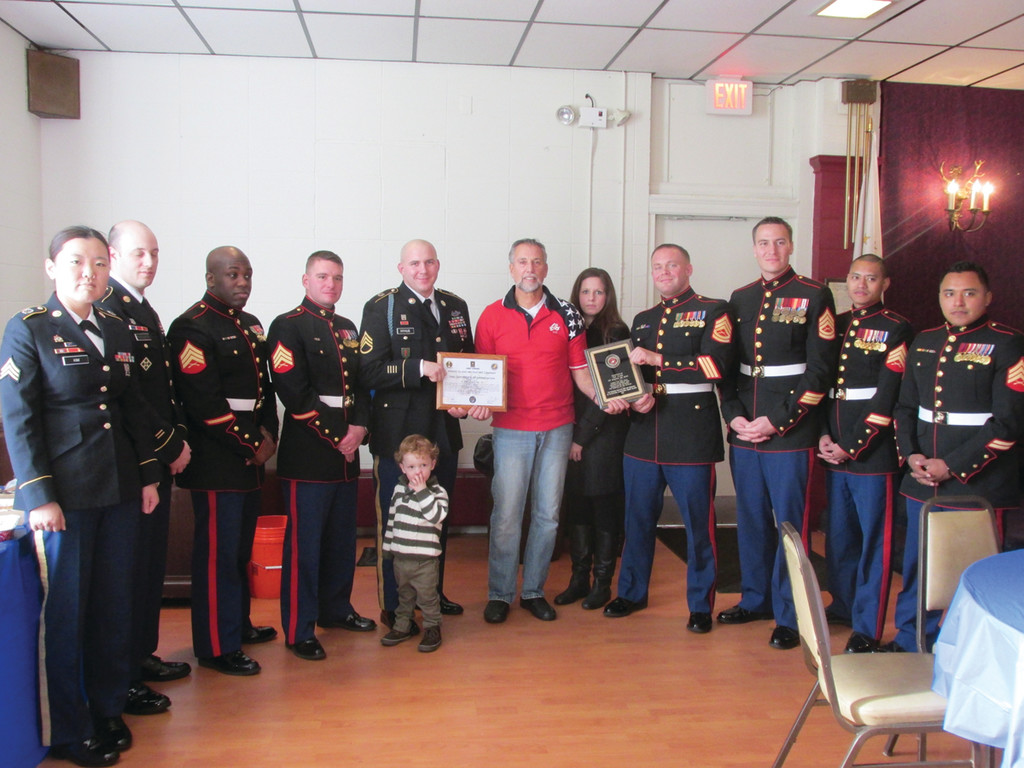 AT DEPLOYMENT LUNCHEON: Among those United States Marine and Army officers who participated in last Saturday's Deployment Luncheon at the Tri-City Elks Lodge in Warwick were, from left: Sgt. Jamie Kim, Sgt. Brandon Howland, Sgt. DeVario Graham, Sgt. Kenneth Kunmieraki, Sgt. Ryan Nyhuis, Sgt. C. Pellegrino, Sgt. George Monteith, Sgt. Joe Henderson, Sgt. Teruhisa Okada and Sgt. Allesandro Abianni.