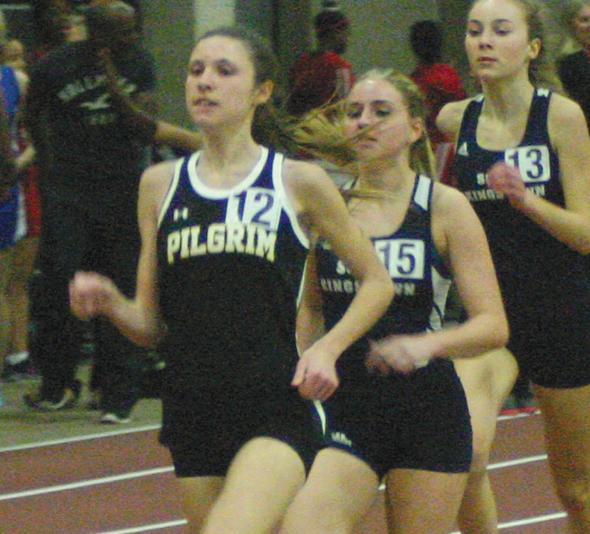 LEADING THE PACK: Pilgrim's Danika Wayss runs in Thursday's season-opening meet. The Pats have a strong nucleus back from the team that finished sixth at states last season.