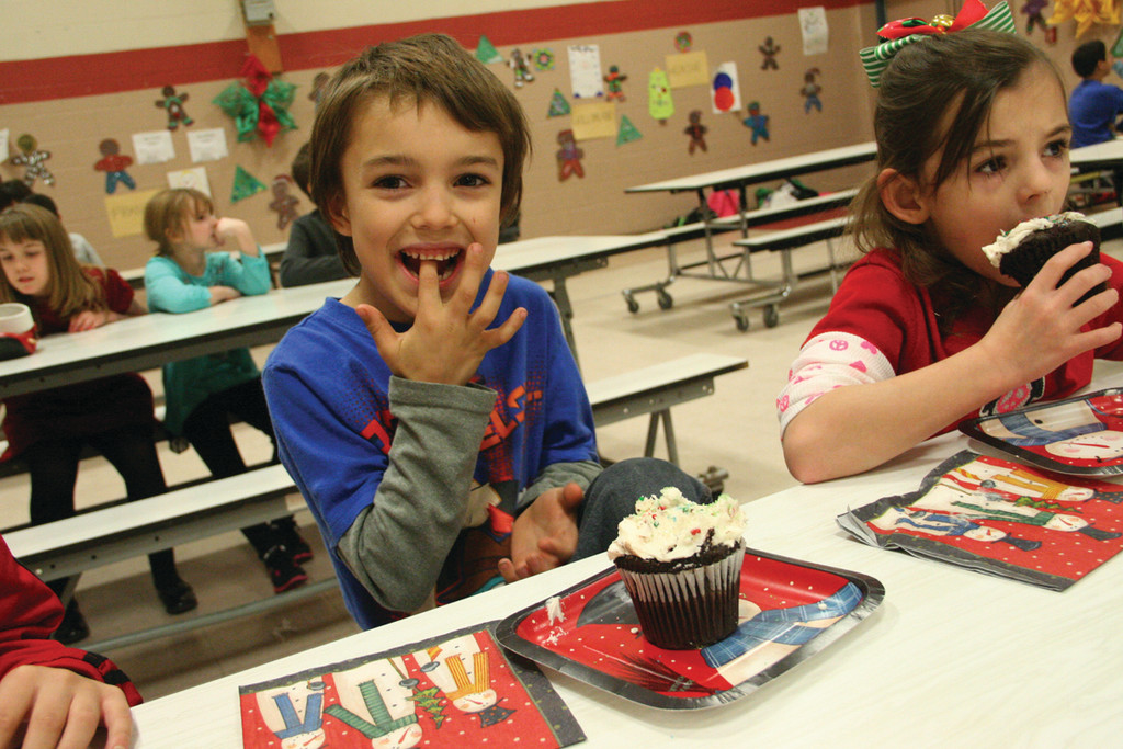BEST EVER: Park School first grader Cherickee LaPointe was obviously delighted with his cupcake.