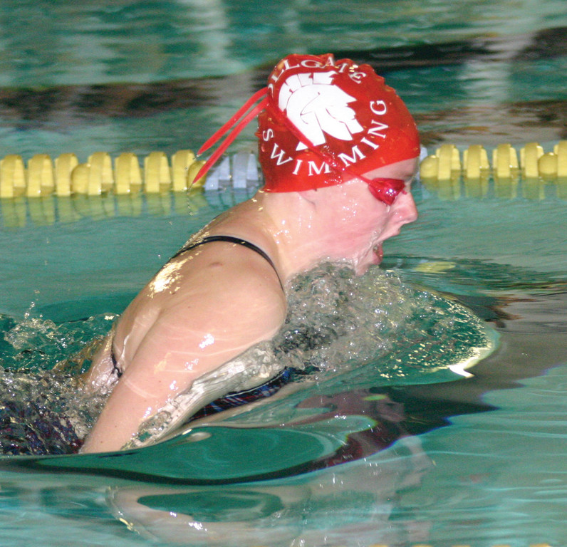 Toll Gate�s Stephanie Hager swims the 100 breaststroke last week against South Kingstown.