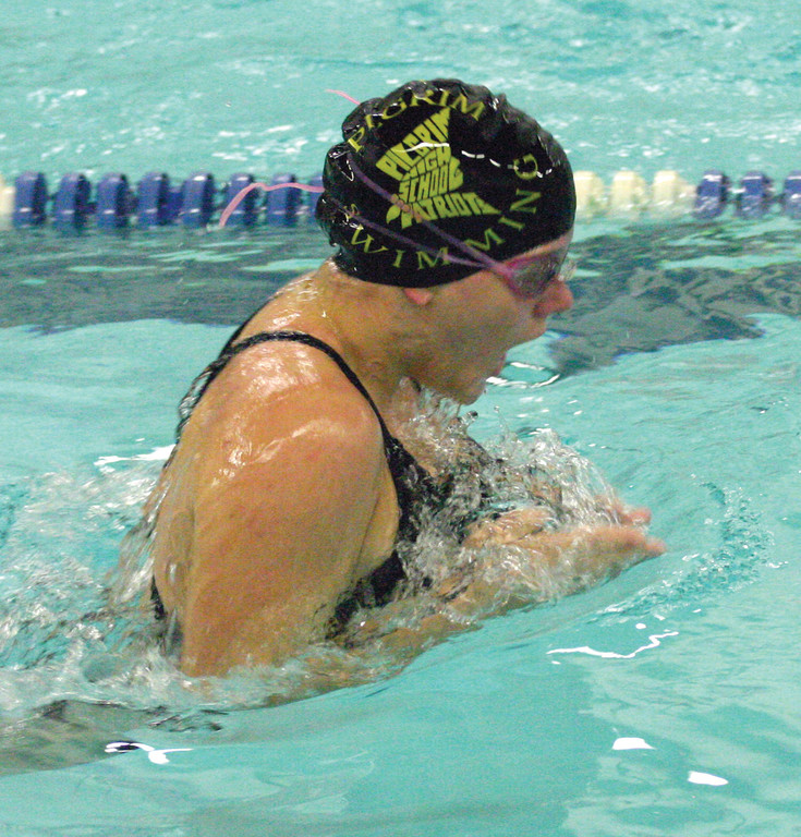 WATER WORKS: Pilgrim�s McKenzie Caron competes in the breaststroke in Thursday�s season-opening dual meet against Classical.