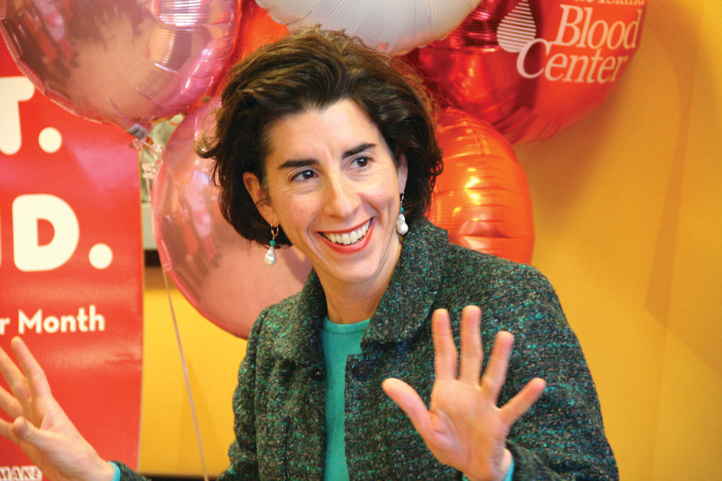 THANKFUL DAUGHTER: At the launch event, General Treasurer Gina Raimondo shared her appreciation for blood donors who helped ensure her father's open heart surgery was successful.