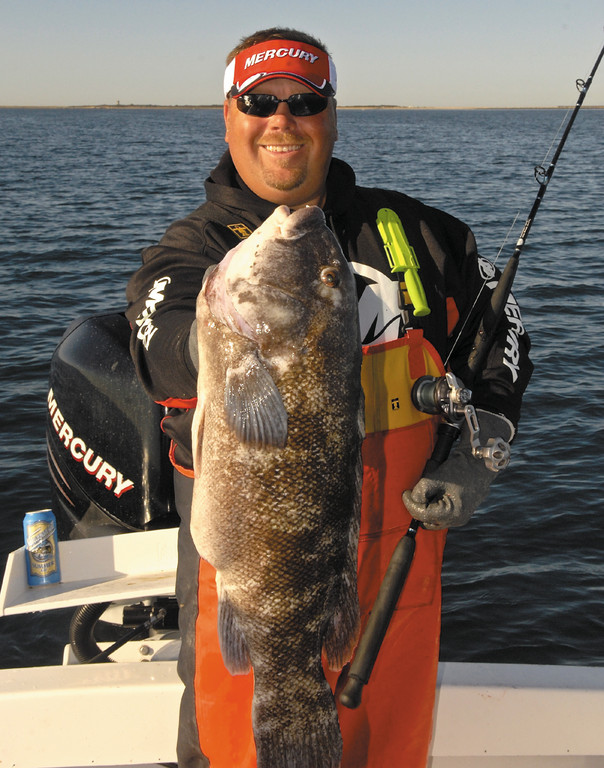 Togzilla:  Capt. Mel True has successfully used vertical jigging to land bottom fish like this big tautog.