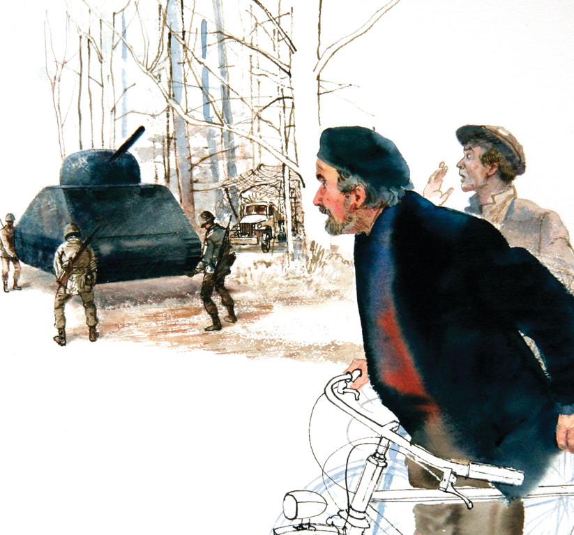 Arthur Shilstone's painting of French cyclists who have accidentally penetrated the security perimeter, and see what looks like four GI's lifting a 40-ton Sherman tank.