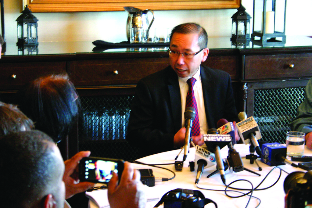 SPEAKING OUT: Cranston Mayor Allan Fung meets with members of the media at Chapel Grille in Cranston on Monday to discuss a fatal accident he caused while an 18-year-old college student in 1989.