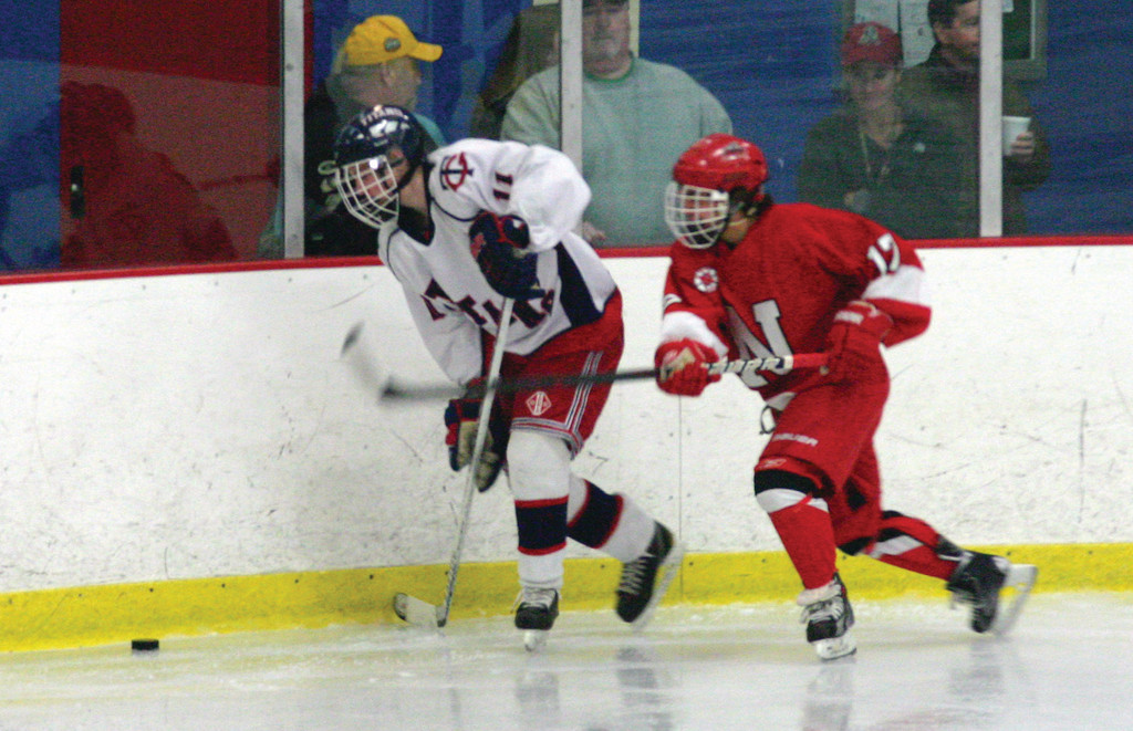 Toll Gate's Nolan O'Brien gives chase to a loose puck.