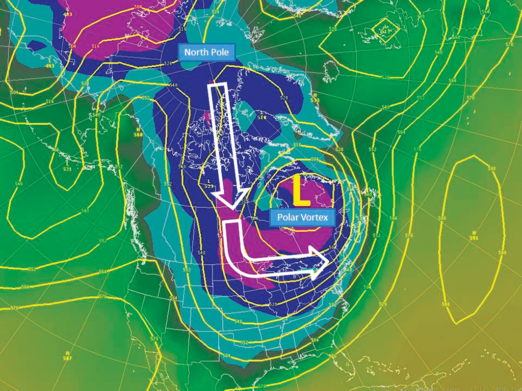 GOING SOUTH FOR WINTER: In the above graphic from the National Weather Service Northeast River Forecast Center, the polar vortex can be seen covering the northern portion of the United States and most of eastern Canada, bringing arctic air across the area following the path of the white arrows. Normally, the vortex is situated much further north near the North Pole.