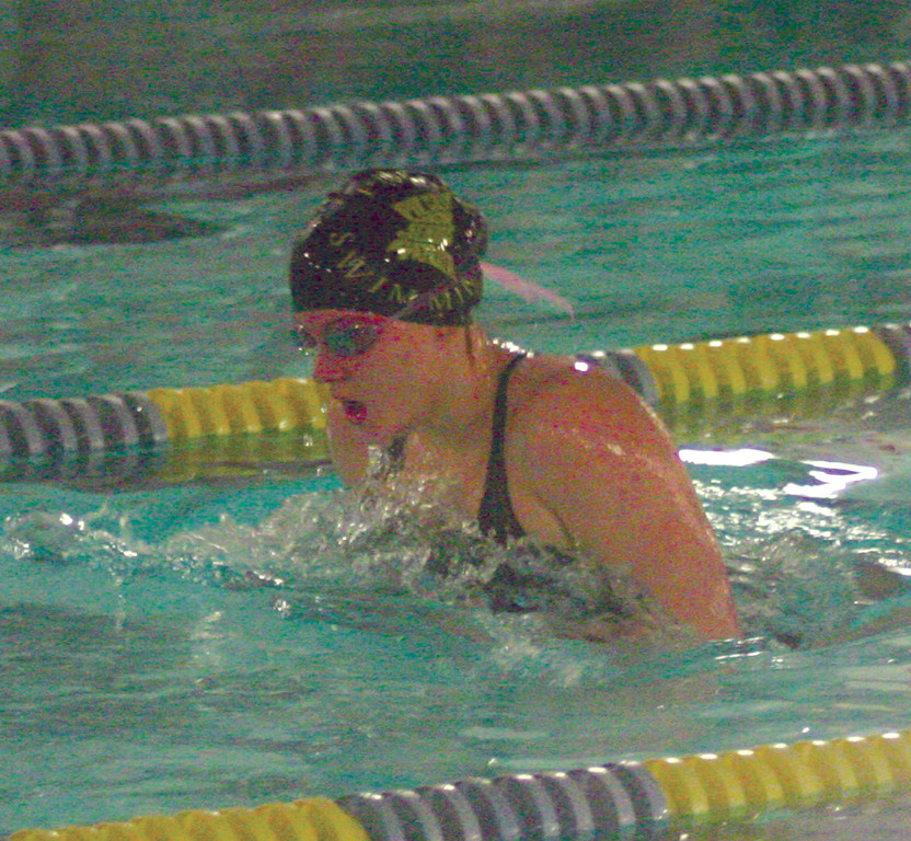 Pilgrim's McKenzie Caron competed in the 100 breaststroke during Friday's meet at McDermott Pool.