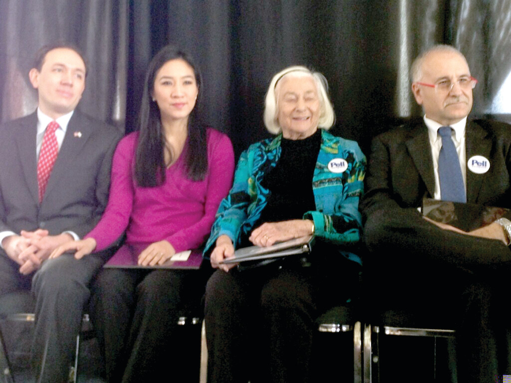SENATOR'S LEGACY: From left, Clay Pell, his wife Michelle Kwan, Nuala Pell, wife of the late U.S. Sen. Claiborne Pell, and Johnston Mayor Joseph Polisena are seen at Tuesday's event.