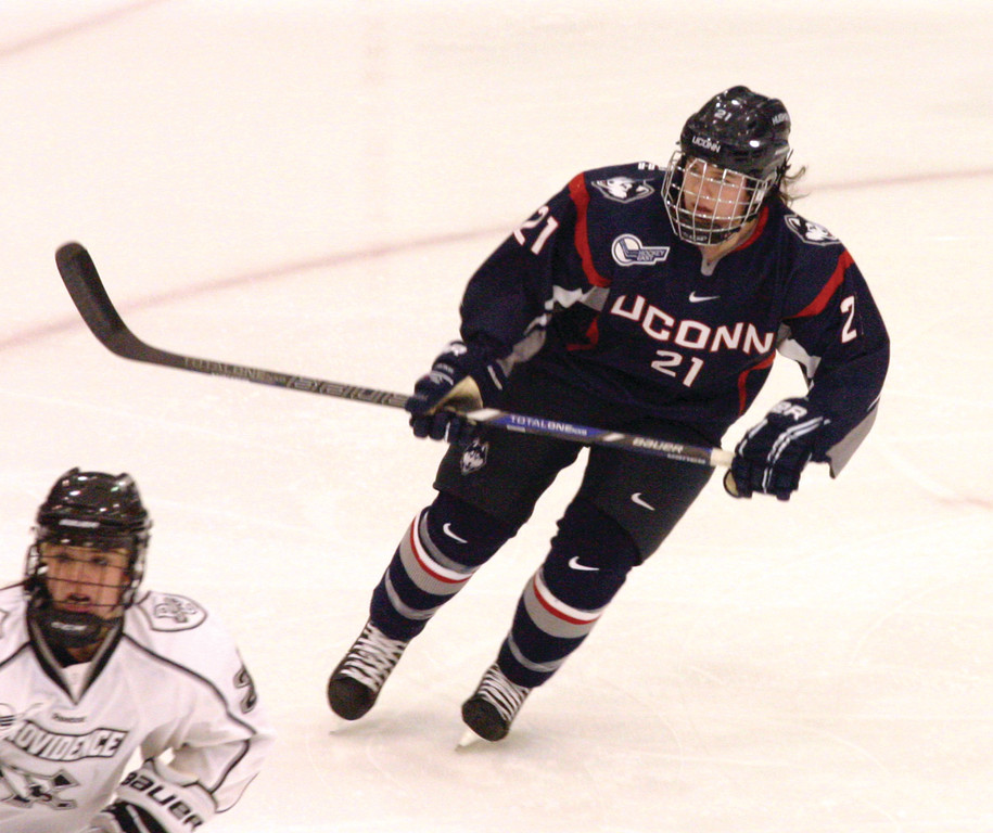 TOP FLIGHT: Warwick native Susie Cavanagh skates for UConn in Sunday's game at Providence College.