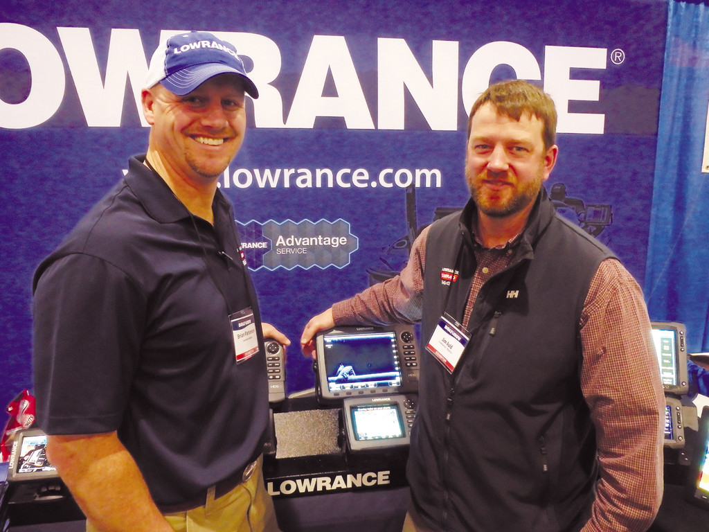 Simrad/Lowrance pro-staff: Capt. Brian Patterson and Capt. Jim Auld two pro-team members help anglers learn how to use their electronics at the RI Boat Show this past weekend.