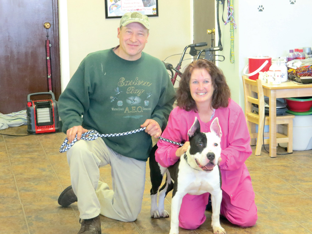 ALL FOR SHELTER DOGS: Harry and Sue Parker, pictured with Sebastian (a dog available for adoption through Providence Animal Control), are the pair behind Calming Scents Nose Works, a shelter dog enrichment program at Warwick's Dynamic Dog Training.