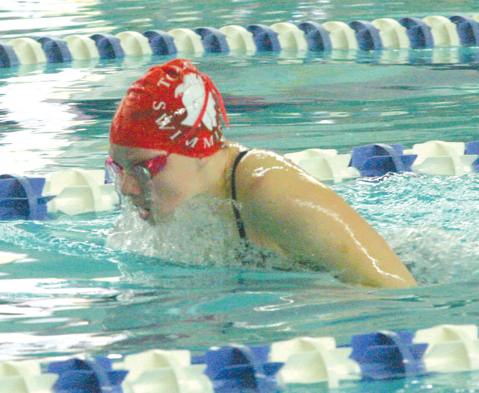 POSTSEASON SWIM: Toll Gate's Stephanie Hager swims her leg of the 200 medley relay at Saturday's Division II championship at Roger Williams University.