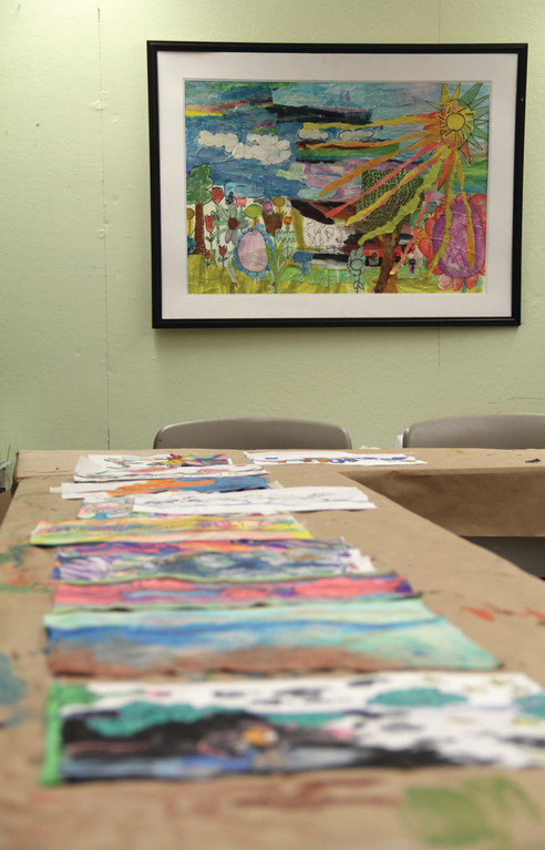 COLORFUL DISPLAY: Paintings dry at the Artists' Exchange in Rolfe Square, recently.