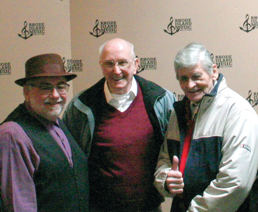 "WITH THE DUKE: From left, Winston ""Wayne"" Cogswel and Ray Peterson - known together as The Mark II - share a moment with renowned local guitarist Duke Robillard during the Rhode Island Music Hall of Fame's announcement of its class of 2014"