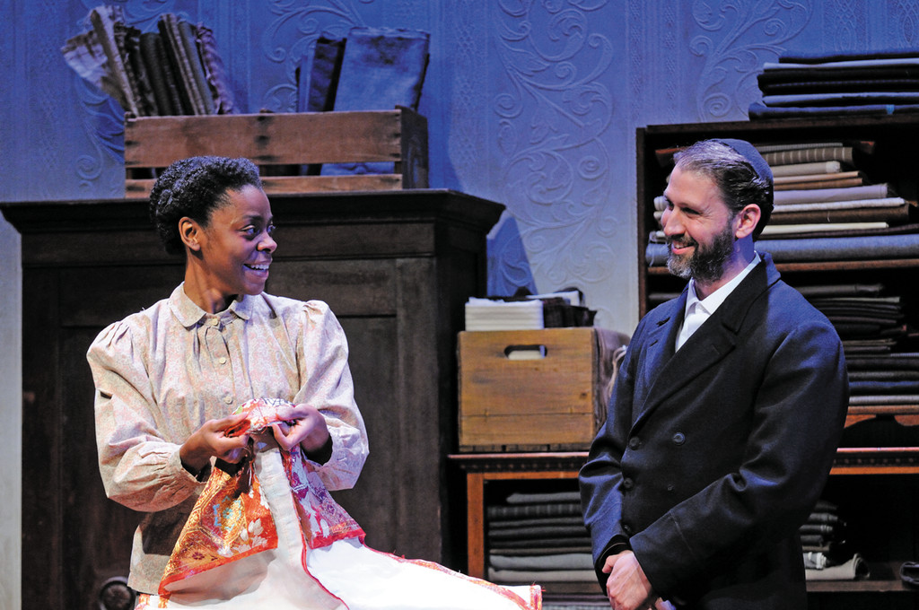Mia Ellis as Esther and Mauro Hantman as Mr. Marks in Intimate Apparel.