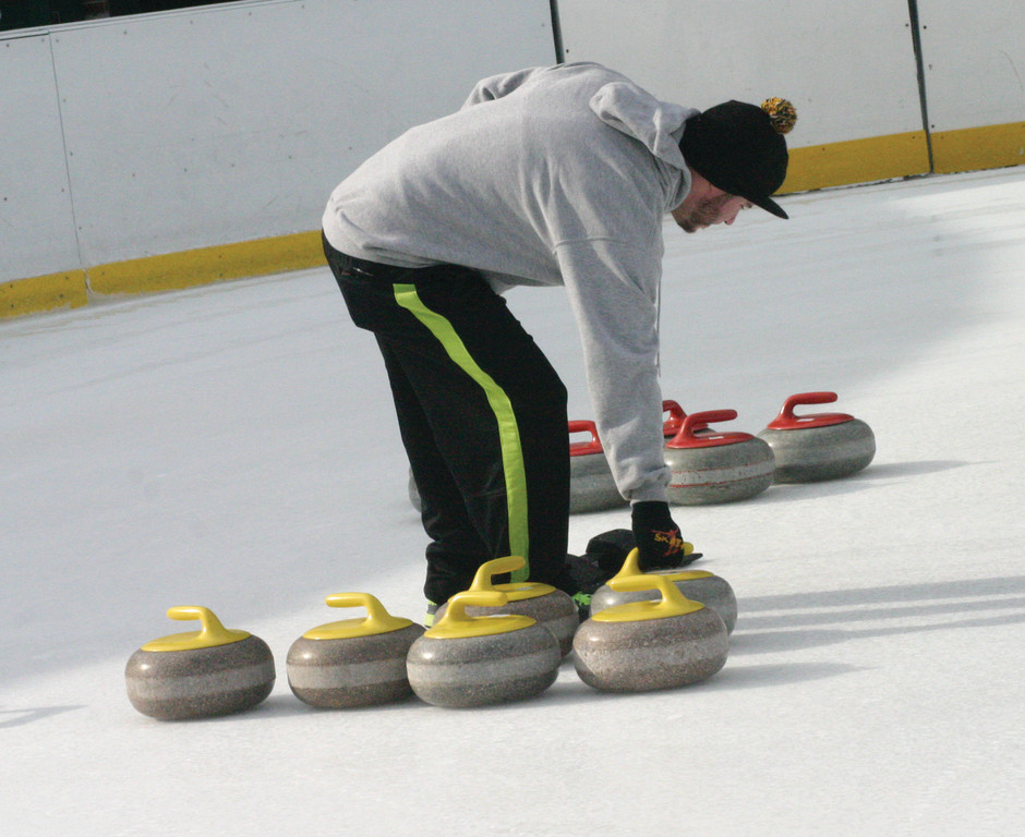 ALL SET UP: Curling rocks are arranged for the next game on Sunday in Providence.